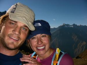 JB and Jen summit Dead Women Pass on way to Macchu Pichu marathon finish
